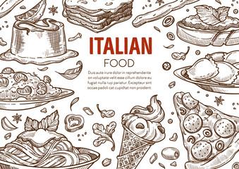 Pasta and pizza, Italian cuisine dishes, Italy restaurant menu