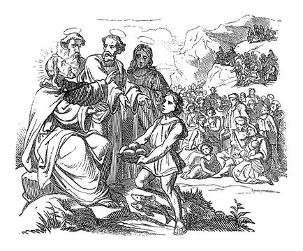Vintage drawing or engraving of biblical story of how Jesus feeds the five thousand by five loaves and two fish.Bible,New Testament, Luke 9,John 6,Matthew 14,Mark 6. Biblische Geschichte , Germany