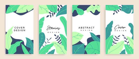 Fotobehang - Social media stories and post background vector set. Background template with copy space for text and images design byTropical leaf shapes,  line arts and natural style brush.