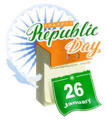 26 January Republic Day India. Calendar sheet calligraphy lettering text greeting card samsara Ashoka Chakra wheel