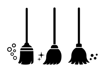 Broom vector icons set
