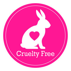 Cruelty free pink vector label
