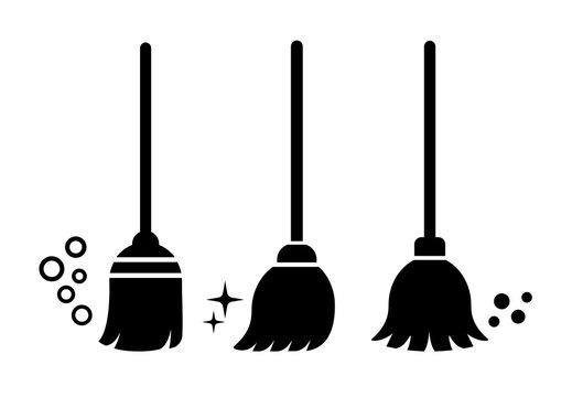 Broom vector icons set