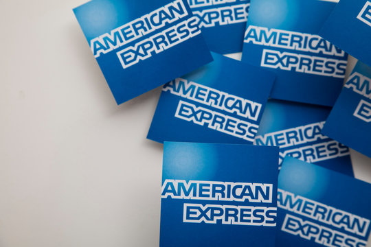 LONDON, UK - January 15th 2020: American express brand logo printed onto paper