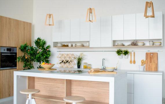 white modern kitchen, interior