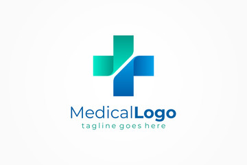 Cross Sign Medical Logo Health Symbol Pharmacy Icon. Flat Vector Logo Design Template Element