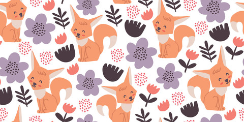 Seamless pattern with cute foxes, flowers, herbs