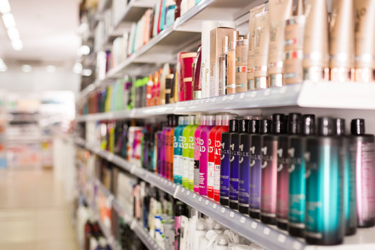 Hair care products on store shelves