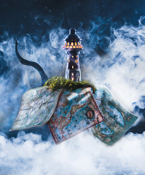 Marine still Life with the silhouette of a lighthouse at full moon in the fog, with the tentacles of a Kraken and old sea maps. Night ocean scene with smoke on the water . Photo based on Lovecraft