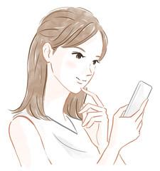 携帯電話を持った女性