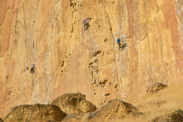 Rock climbers climb a large rock, filmed from the back.