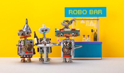 Three robots drink wine and have fun in a trendy Robo Bar club. Bar counter with drinks, metal...