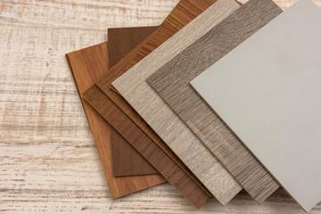 color sample boards for design on wooden desk. Fotobehang