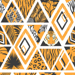 Seamless african pattern in patchwork style. Vector trendy background with animal print, palm leaves.