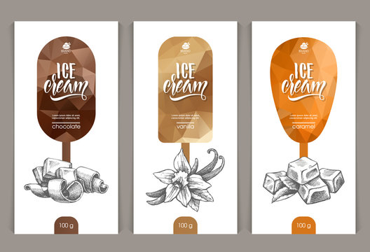 Vector set of templates packaging ice cream
