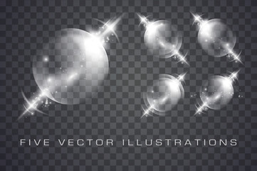 Glass spheres of glowing lights Wall mural