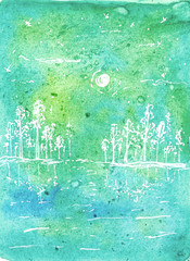 Wall Murals Green coral Spring landscapes. For spring mood cards, posters or stickers. Watercolor illustration.