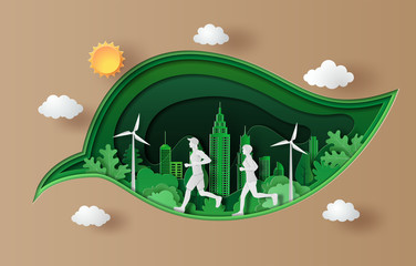 Paper art style of landscape with people running, sport and activity concept.