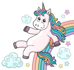 Foto auf AluDibond Für Kinder Cute unicorn topic image 6