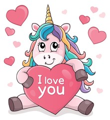 Photo sur Aluminium Enfants Valentine unicorn theme image 2