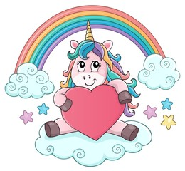 Photo sur Aluminium Enfants Valentine unicorn theme image 3