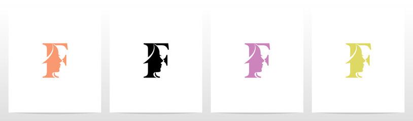 Woman Face On Letter Logo Design F
