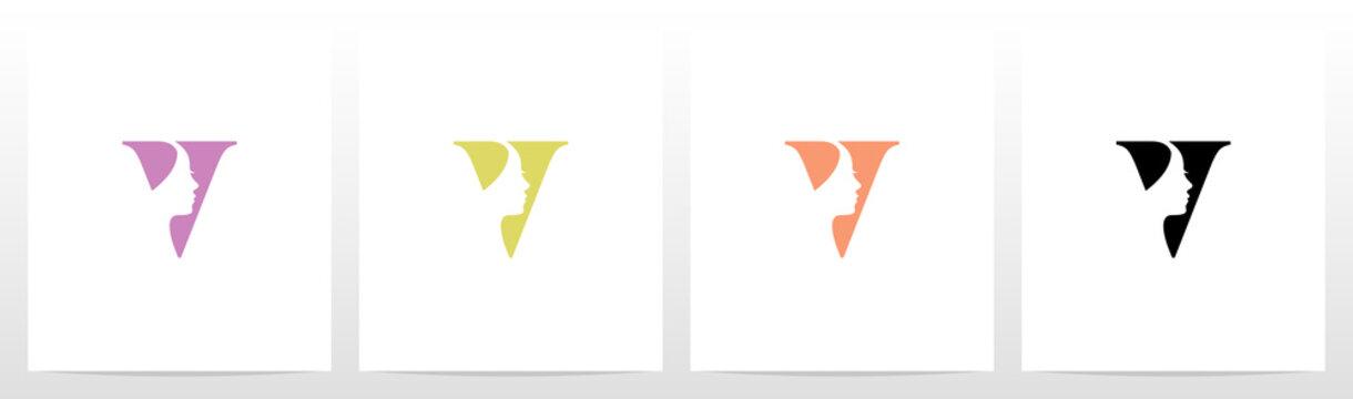 Woman Face On Letter Logo Design V