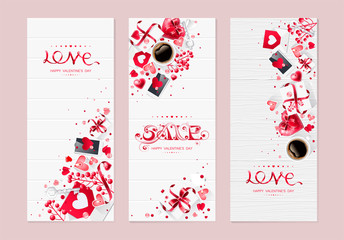 Valentine day love cup of coffee lettering web set kit brochure flyer for advertising sale party design element background