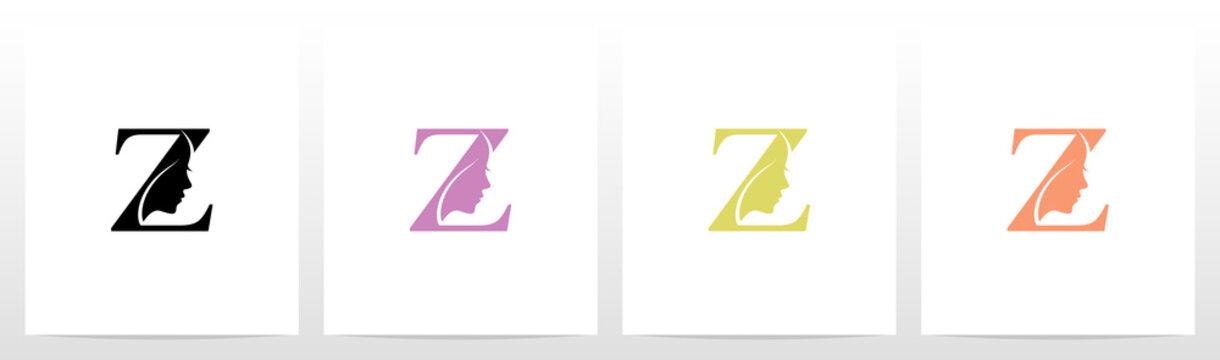 Woman Face On Letter Logo Design Z