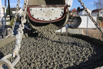 Truck mixer delivers fresh concrete to the construction site