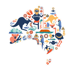 Australia illustration of map with many icons, symbols. Vector design