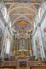 ACIREALE, ITALY - APRIL 11, 2018: The resbytery of baroque church Chiesa di San Camillo with the frescoes by Pietro Paolo Vasta (1745 - 1750).
