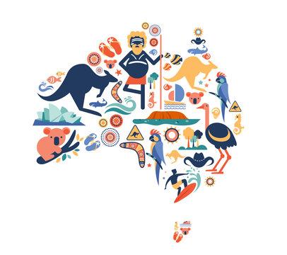 Australia illustration of map with many icons, symbols. Vector design