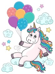 Poster Voor kinderen Unicorn with balloons topic image 1