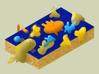 Bakterien und Viren auf einem Schwamm, farbig