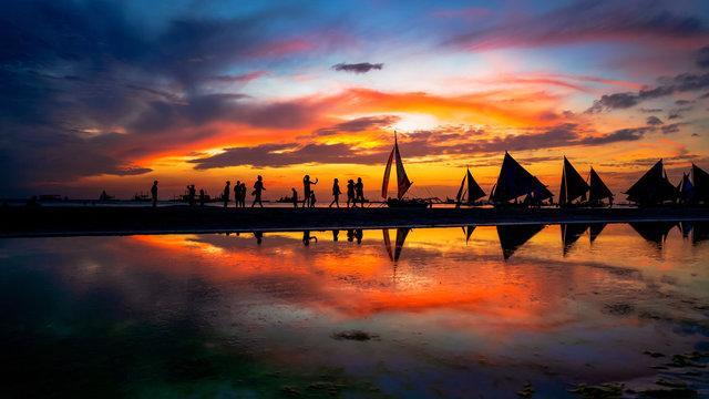 Boracay Island in the Philippines stunning Sunset
