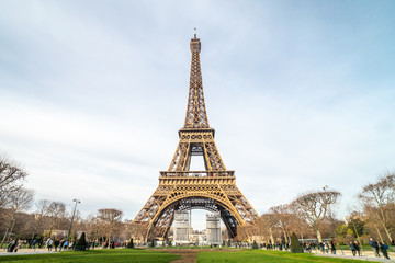 Beautiful view of famous Eiffel Tower in Paris at winter time, France. Paris Best Destinations in Europe.