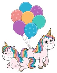 Poster Voor kinderen Two unicorns with balloons theme image 1