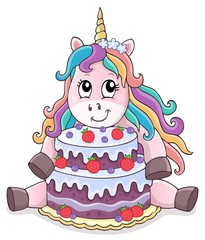 Photo sur Aluminium Enfants Unicorn with cake theme image 1