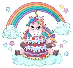 Photo sur Aluminium Enfants Unicorn with cake theme image 2