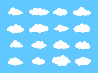 Poster Ciel Clouds in the sky. Set of Cloud Icons in trendy flat style isolated on blue background. Cloud symbol for your web site design, logo. Vector illustration, EPS10.
