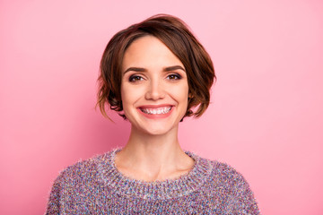 Close-up portrait of her she nice-looking attractive lovely charming pretty cute winsome cheerful cheery girl wearing modern haircut isolated over pink pastel color background