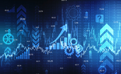 Stock market chart. Business graph background, Financial Background, Economic background with candle stick graph