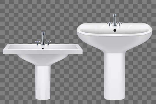 Set of Classic ceramic rectangle and oval washbasins with water tap. Porcelain washstand. Sample sink with faucet For Bathroom and Restroom. Vector Illustration on transparent background.