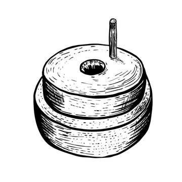 Hand millstones for grain with handle holder. Vintage. Hand realistic drawing. Engraving style vector illustration.