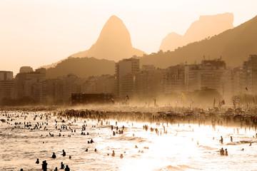 Printed kitchen splashbacks Rio de Janeiro Copacabana Beach at sunset in Rio de Janeiro, Brazil
