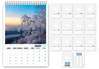 2020 Calendar Layout with Blue Accents