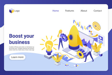 Business boost isometric landing page vector template. Businesspeople, male and female entrepreneurs faceless characters. Project development, company promotion web banner homepage design layout