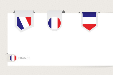 Wall Mural - Label flag collection of France in different shape. Ribbon flag template of France