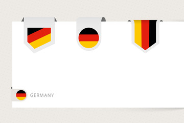Wall Mural - Label flag collection of Germany in different shape. Ribbon flag template of Germany